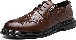 Zapatos casuales Zapatos de Oxford de los hombres, zapatos de vestir en relieve de cocodrilo de cordones, cuero de imitaci...
