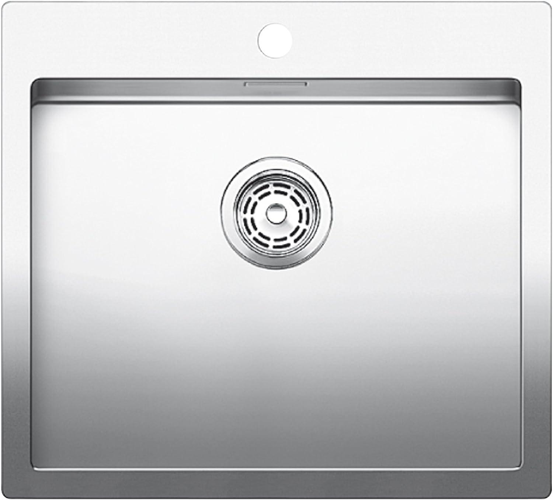 Weiß Claron 500-IF A Sonder Edelsthal-Spüle, manuelle Ablaufgarnitur, Flachrand für 60 cm Unterschrank, silber, 519057