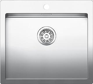 Blanco Claron 500-IF/A Sonder Edelsthal-Spüle, manuelle Ablaufgarnitur, Flachrand für 60 cm Unterschrank, silber, 519057