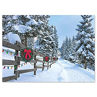Forest Lane Personalized Christmas Cards ? Set of 18 Cards and Envelopes, Card Stock, 5 x 7 Inches, by Current