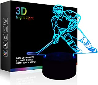 Hockey Player 3D Lamp Night Lights for Kids 7 LED Color Changing Touch Table Desk Lamps Lighting Cool Toys Gifts Birthday Xmas Decoration for Sports Hockey Fan
