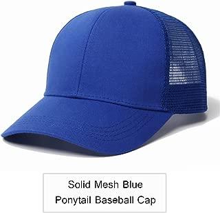 New Glitter Ponytail Baseball Cap Women Adjustable Messy Bun Caps Black Hat Girls Summer Mesh Hats Solid Blue No Tag