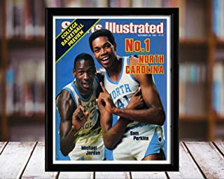 Michael Jordan and Sam Perkins Sports Illustrated Autograph Replica Print - No 1 - North Carolina Tar Heels - 11/26/83-8x10 Desktop Framed Print
