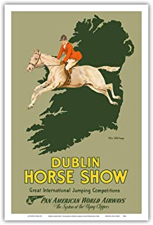 Pacifica Island Art - Dublin Horse Show - Pan American World Airways - Vintage Airline Travel Poster by Olive Whitmore c.1954 - Master Art Print - 12in x 18in
