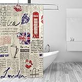 JSTEL Vintage Zeitung London Duschvorhang schimmelresistent & wasserdicht Polyestergewebe 183,9 x 183,9 cm für Zuhause Extra Lang Badezimmer Dekorative Dusche Badewanne Gardinen Liner mit 12 Haken