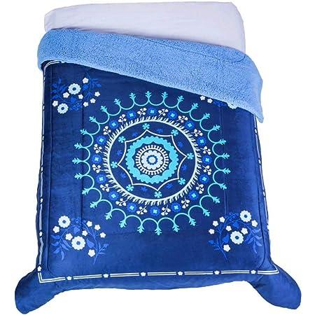 Colchas Concord Suzani Cobertor de Borrega, Azul, Matrimonial 1.80 X 2.20 Mts.