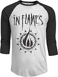 JeremiahR in Flames Band Men's 3/4 Sleeve Raglan Baseball Tshirt Black