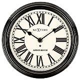 NeXtime 3152ZW Amsterdam Reloj de Pared, Negro, 21.5 cm