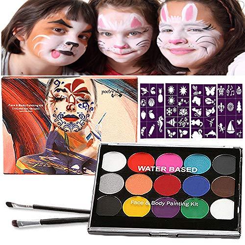 Halloween Kinderschminke Set, Face Paint Body Paint für Kinder und Erwachsene mit 15 Farben Schminkpalette, 2 Berufs Pinsel, 40 Tattoo-Vorlagen