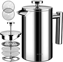 BAYKA French Press Coffee Maker, Stainless Steel 21oz Double-Wall Metal Insulated Coffee Tea Makers with 4 Level Filtratio...