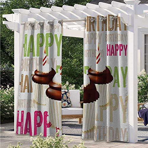 Adorise Indoor Outdoor Curtains Grunge Retro Happy Birthday Pattern with Three Chocolate Cupcakes Candles Print Outdoor Porch Curtains for Bedroom, Porch, Pergola, Cabana Multicolor W108 x L84 Inch