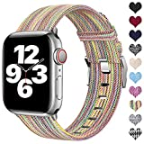 Ouwegaga Compatible con Apple Watch Correa 38mm 40mm 42mm 44mm, Correa de Tela Tejida Nylon de Repuesto Compatible con Apple Watch SE/iWatch Series 6 5 4 3 2 1, Multicolor 42mm/44mm