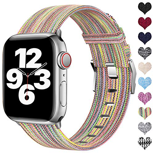 Ouwegaga Kompatibel mit Apple Watch Armband 38mm 40mm 42mm 44mm, Ersatzgewebe Band Stoff Armband Kompatibel mit Apple Watch SE/iWatch Serie 6 5 4 3 2 1, Bunt 38mm/40mm