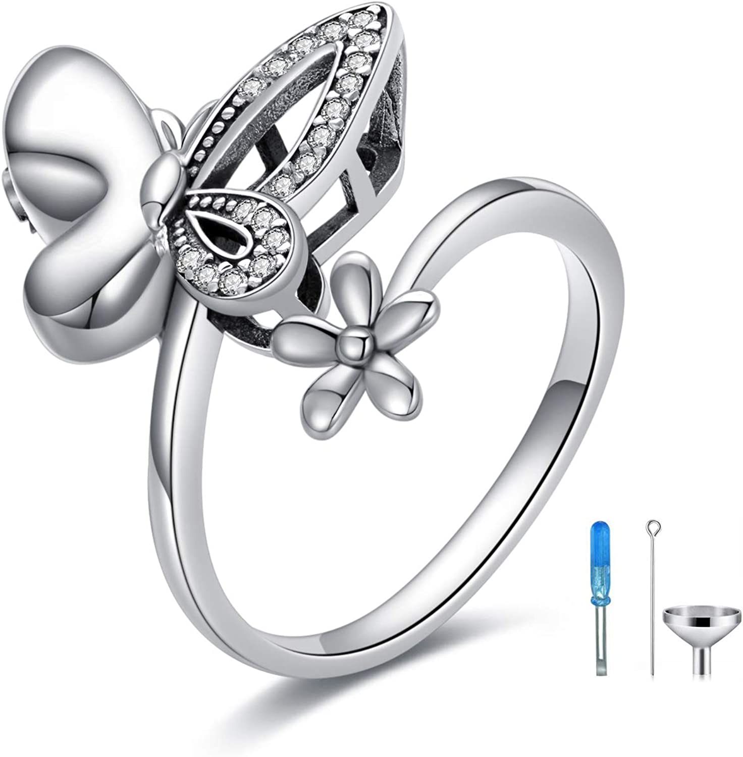 Butterfly online shop Cremation Ring for Ashes 925 Open Ranking TOP15 Sterling Urn Silver