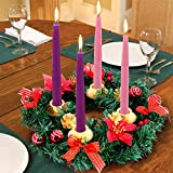 TURNMEON 14 Inch Christmas Advent Wreath Decoration 4 Candles Holder Christmas Centerpiece Table Decorations with 4 Golden Pine Cone 4 Ribbon 4 Glitter Poinsettia 12 Red Berry 6 Ball