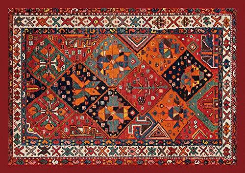 HomeLife Tapis de style persan/oriental en coton, pour salon/séjour/chambre/descente de lit, avec dos antidérapant, impression numérique d'inspiration orientale, rouge/beige 108X154