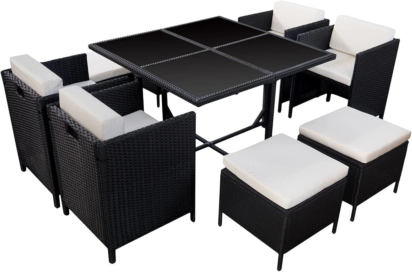 HABELOCK - Juego de jardín empotrado de resina tejida - Juego de mesa, sillas, pufs para exteriores - Resistente a la intemperie - Cojines suaves y repelentes al agua - 10 lugares - Negro Beige