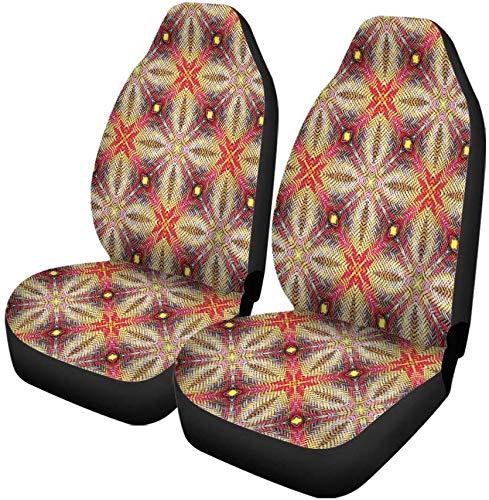 Set van 2 auto stoelhoezen bruin de patronen van oude weven rotan bamboe traditionele universele auto voorstoelen beschermer past voor auto