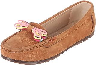 Grinta Faux-Nubuck Moc-Toe Contrast Ribbon Detail Flat Loafers for Women