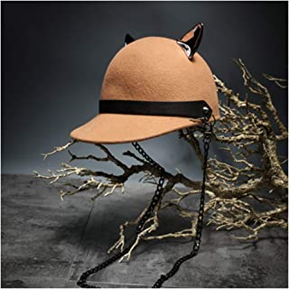 JAUROUXIYUJIN New Men's Women's 100% Wool Fedora Hat Chain Devil Horn Wool Baseball Cap Equestrian Hat Men and Women Punk Knight Cap (Color : Yellow, Size : 56-58CM)