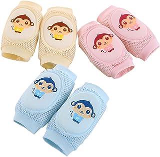 GZQ, Rodilleras para Bebés, 6 pcs Protectores de Rodillas Esponja,Almohadillas de Rodilla Malla de Dibujos Mono para