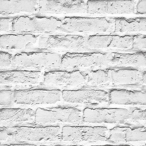 BUVU tapete 53x1000cm Steintapete Weiß Natur Stein, schöne edle Tapete im Steinmauer Loft Design, moderne 3D Optik für Wohnzimmer, Schlafzimmer oder Küche RBMT771001