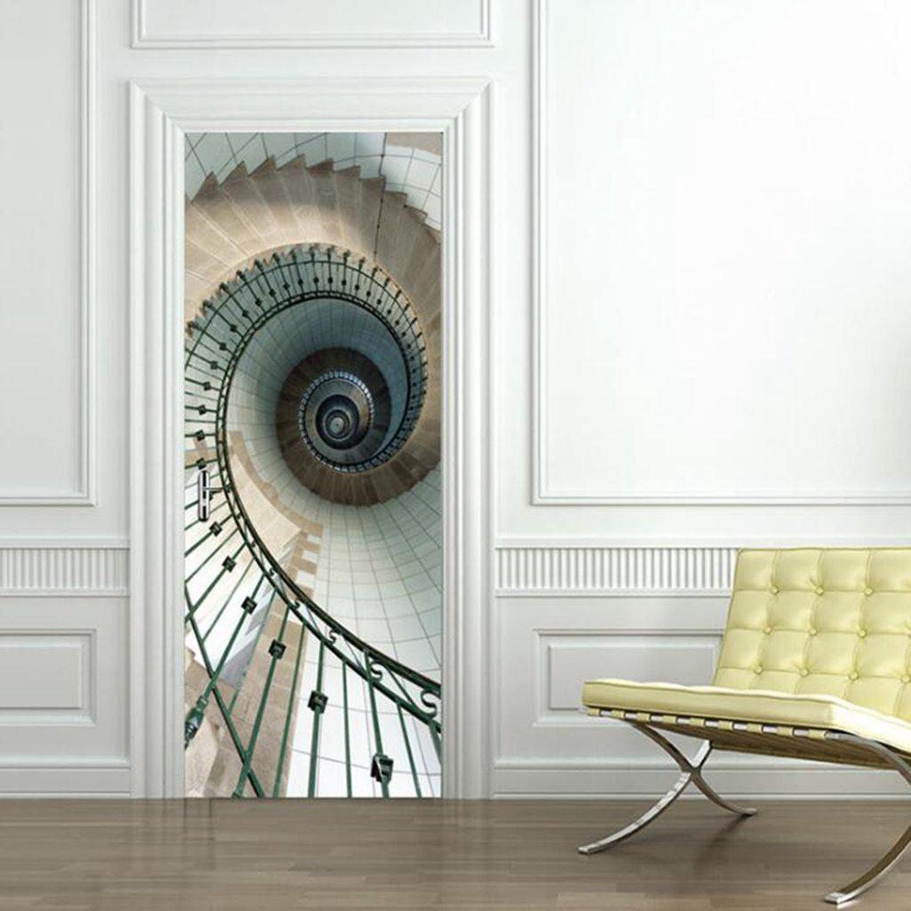 Longless Imitación de la puerta 3D pegatina, escalera de caracol, puerta de madera renovación, salón Puerta, Creative autoadhesivo pegatinas decorativas para paredes, adhesivos puerta impermeable: Amazon.es: Hogar