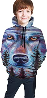 Cyloten Kid's Sweatshirt Wolf Oil Painting Pullover Hoody Teen's Breathable Long Sleeve Sports Hoodies