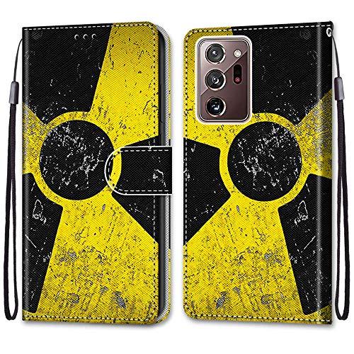 Nadoli Handyhülle Leder für Samsung Galaxy Note 20 Ultra,Bunt Bemalt Schwarz Gelb Zeichen Trageschlaufe Kartenfach Magnet Ständer Schutzhülle Brieftasche Ledertasche Tasche Etui