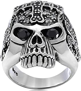CROSS SKULL Solid 925 Sterling Silver Men Ring set with Black White CZ Stones