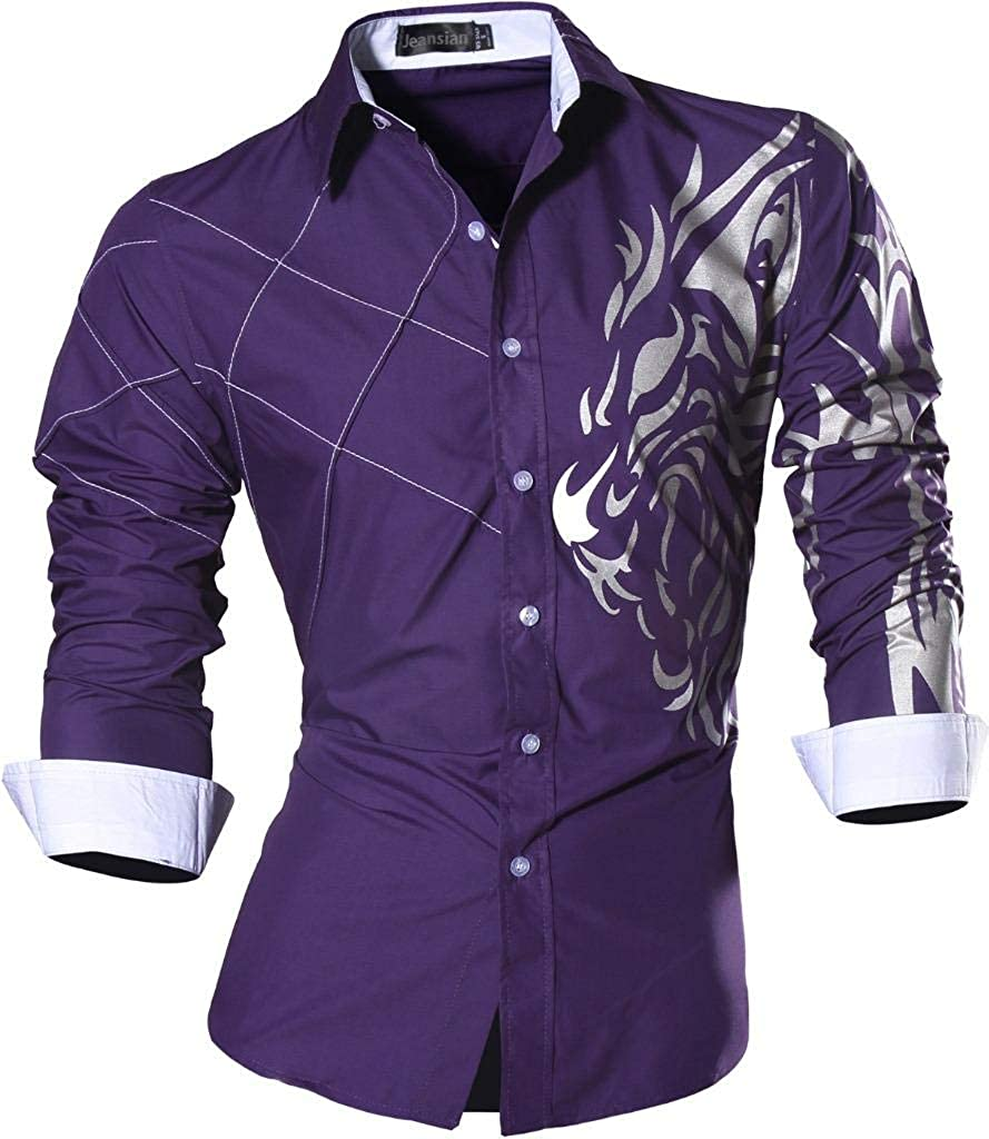 jeansian Mens Premium Slim Fit Long Sleeves Casual Formal Shirts Dress Tops Office Button 2028