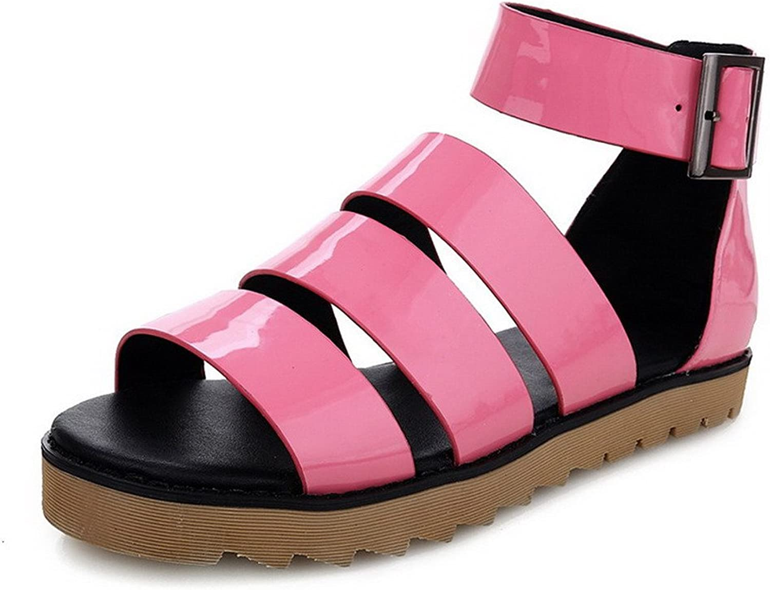AmoonyFashion Women's Buckle Low-Heels Cow Leather Solid Open Toe Sandals