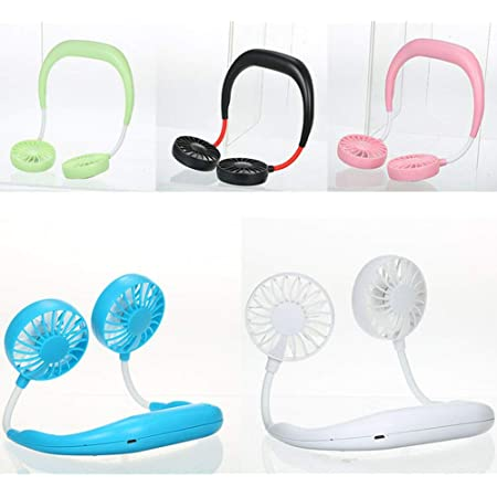 Blackcherry Portable Hanging Neck Fan USB Gadgets Rechargeable Wearable Neckband Face Fan for Kitchen Cooking Strong Airflow Quiet Operation (3 Blades) ( Assorted)