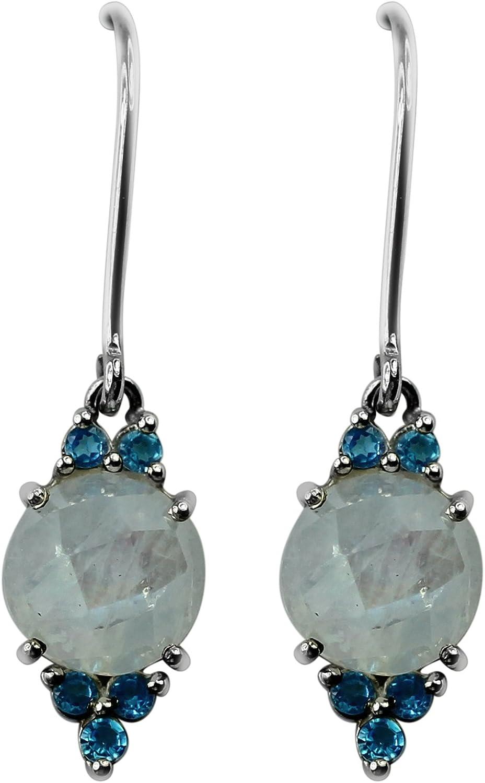 Carillon Rainbow Moon Stone Round Shape Gemstone Jewelry 10K, 14K, 18K White Gold Drop Dangle Earrings For Women/Girls