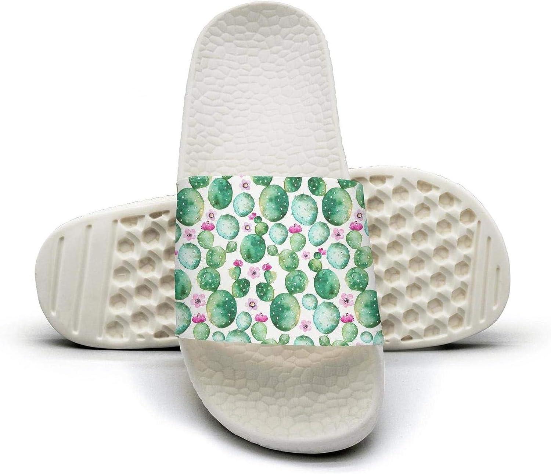 Woman Cactus Plants and Purple Flowers Slip on Beach Sandals and Anti-Slip Shower Slipper Comfort Sandals
