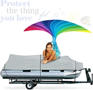 Increase Your Pontoon Boats Lifetime With Waterproof 18-20` Pontoon Boat Cover Trailerable Portable Marine Heavy Duty Mildew, Dirt, UV Resistant Weatherproof Fishing Canvas+European Cream 4 Men+E-Book