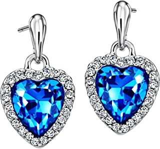 Neoglory Blue Heart Crystal Drop Earrings Rhinestone Platinum Plated Fashion 2019