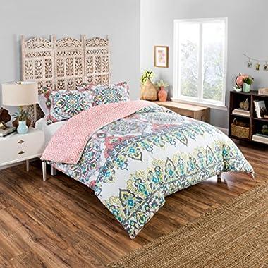 Boho Boutique Rozella Comforter Set, Queen, Coral