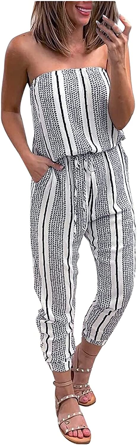 Akklian Womens Jumpsuit Off Shoulder Tie Waist Summer Casual Overall Sexy Beach Party Outfit Long Pants Romper with Pockets