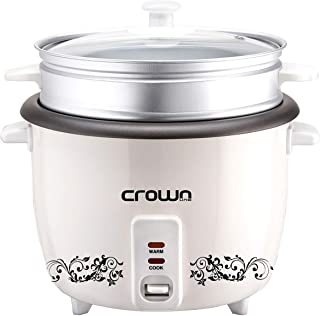 CrownLine 0.6 Liters Rice Cooker with Steamer White