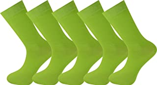 5 pares de calcetines lisos Unisex Hecho del algodón peinado más fino Verde lima
