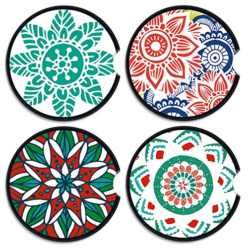 Sansoak Posavasos de coche absorbente Mandala de cerámica para coche, paquete de 4 piedras de cerámica con muesca para el dedo para una fácil extracción, mantiene limpios los portavasos del vehículo