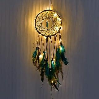 LAIYYI Handgjord drömfångare, hem vägg hängande varm dekoration flickor sovrum hänge fjäder dekoration med LED-lampor
