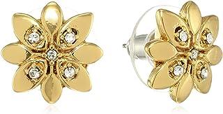 Estele - 24Kt Gold Plated flower Shaped Zinc Brass Earrings with Austrian Crystals for Women