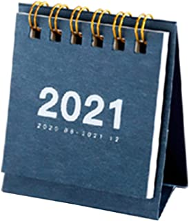 $23 » WUCHENG 2021 Simple Solid Color Mini Desktop Paper Simple Calendar Dual Daily Scheduler Table Planner Yearly Agenda Organi...