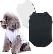 Chol&Vivi Blank Dog T-Shirts Clothes, 2pcs Dog Shirts Apparel Fit Fot Small Extra Small Medium Large Extra Large Dog Cat, Cotton Shirts Soft and Breathable, 7 (XS/S/M/L//L+/XL/XXL)