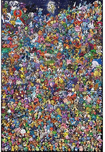 Jigsaw Puzzle 1000 Pieces of Wooden Puzzle High-hard puzzle Pokémon puzzle intensive family Pokémon puzzle DIY assembly decompression toy intelligence training parent-child map