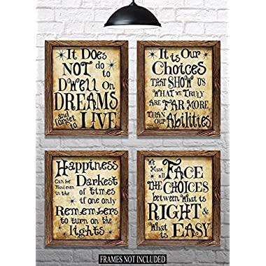 Harry Potter Quotes & Sayings - Set of 4-8 x10  Prints - Great Harry Potter Gifts (set #1)