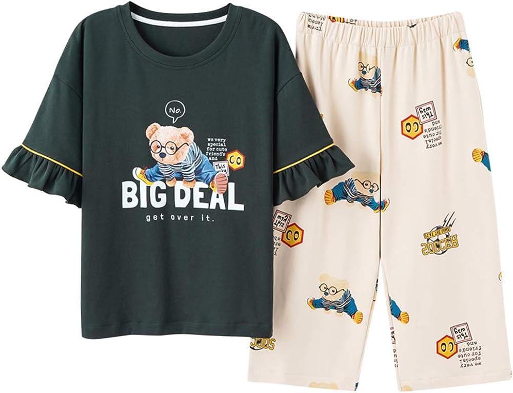 KINYBABY Girls Cotton Pajama Sets Cute Bear Pattern Lovely Pjs Short Sleeve Sleepwear 2PCS Sleep Shirt with Pants (Dark Green,14-16 Years/Tag XXL)