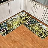 ASNIVI Set di 2 tappetini da cucina Antiscivolo,Vita dell'albero del gatto allo zenzero a strisce rustiche La tecnica del tamponamento conferisce un carta,Tappetino zerbino Lavabile